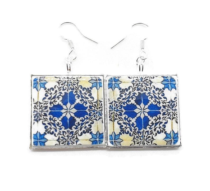 Portuguese jewelry tile earrings azulejos Portuguese tiles earrings Lisbon antique tiles majolica tiles replica earrings Lisbon tiles
