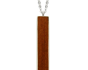 Redwood Necklace, Wood Jewelry, Bar Necklace, Fashion Jewelry, Handmade, Redwood, Fairmined Silver, Minimal, Ethical, Made in California