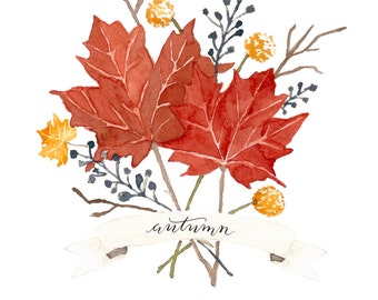 Watercolor Autumn Leaves | Hand Lettered Digital Download