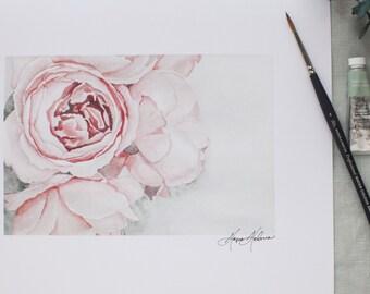 Watercolor Peonies in Bloom Painting | Watercolor Fine Art | 8x10 | Peony painting