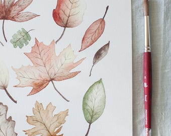 Falling Leaves Watercolor Print | 8x10 | Fall Decor