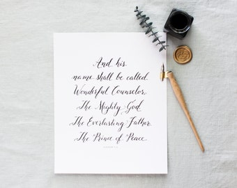 Wonderful Counselor | Black or Gold Hand-lettered Christmas Print | Calligraphy Christmas Print