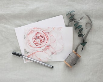 Peony Watercolor Notecards - Pack of 6 | 5x7