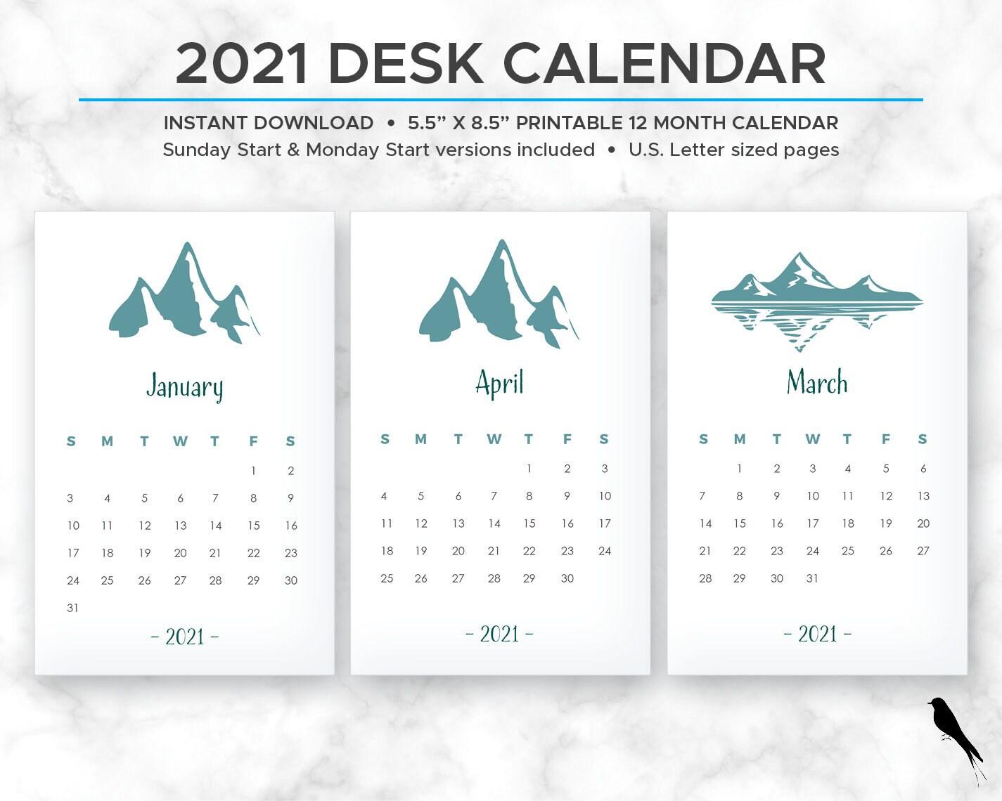 2021 Mountain Printable Calendar Outdoors Desk Calendar   Etsy