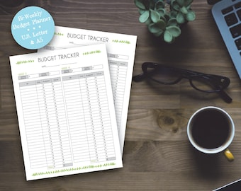 Printable Budget Tracker, Green Leaf Home Bi-Weekly Budget Sheets U.S. Letter A5 Size Printable Planner Pages, Home Budget, Instant Download