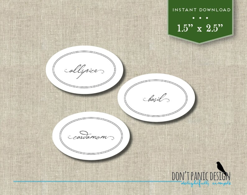 graphic about Printable Jar Labels called Do-it-yourself Printable Spice Jar Labels - Attractive Basic Oval Spice Jar Labels - Household Planning - Printable Stickers - Quick Obtain