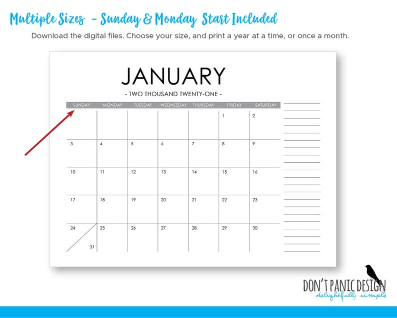 Printable 2021 Large Modern Monthly Wall Calendar with ...