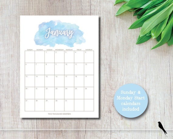 photograph regarding Pretty Calendars named Very 2019 Watercolor Printable Wall Calendar - Blue Watercolor 12 Thirty day period Wall Calendar - House Workplace Preparing - Sunday Monday Start out