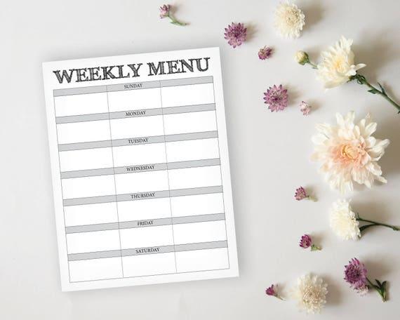 rustic menu planner rustic daily menu planner page meal etsy