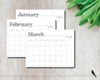 SALE 2018 Printable Wall Calendar - Simple Modern Rustic Font Monthly Notes Calendar Family Planner - Instant Download Calendar