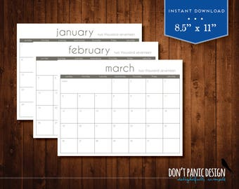 RESERVED: 2019 Printable Wall Calendar wtih Commercial License - Modern 12 Month Appointment Planner in Customer CMYK