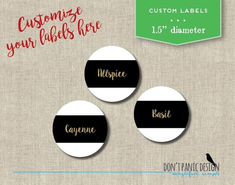 DIY Printable Spice Jar Labels - Modern Black and Gold Round Spice Jar  Labels - Home Organizing - Printable Stickers - Custom Labels