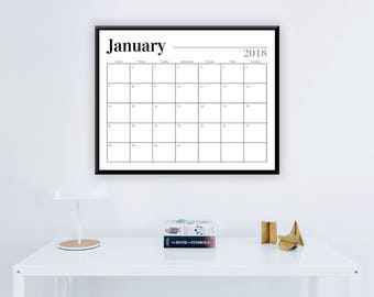 """Large Black 2018 Printable 12 Month Calendar - 16"""" x 20"""" - Professional Wall Monthly Wall Calendar - 2018 Instant Download Calendar"""