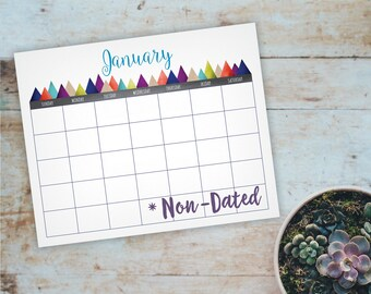"Printable Mountain Wall Calendar - Non-Dated - 40cm x 50 cm, 14"" x 18"" 16"" x 20"", U.S. Letter, Perpetual Wall Calendar, Instant Download"