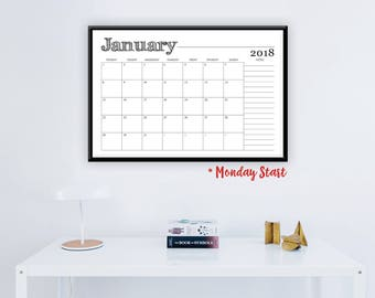 "Large 2018 Monday Start Printable Monthly Wall Calendar - Rustic Calendar Monthly Wall Calendar,  24"" x 36"", 2018 Instant Download Calendar"