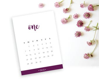 2018 Printable Monthly Calendar - Beautiful Merlot Purple Desk Calendar - 5x7 Calendar - Home Organizing - 2018 Instant Download Calendar