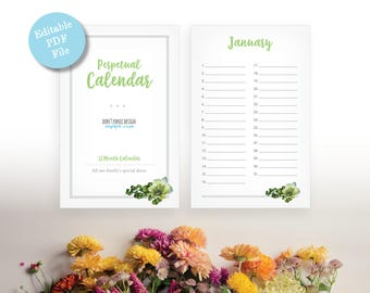 Printable Perpetual Calendar - Green Leaf Editable Pdf Calendar - Eternal Birthday, Anniversary Calendar - Instant Download PDF