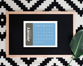 2018-2019 Printable Desk Calendar - Modern Color Block Monthly Calendar - Small Decorative Desk Calendar - 2019 Instant Download
