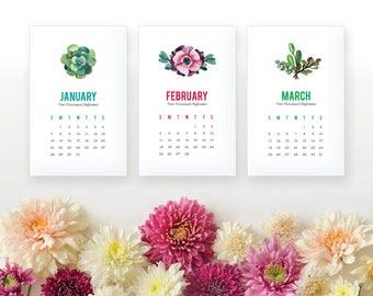2018 Succulent Printable Monthly Calendar - Succulent Desk Calendar - Home Organizing Wall Calendar - 2018 Instant Download Calendar
