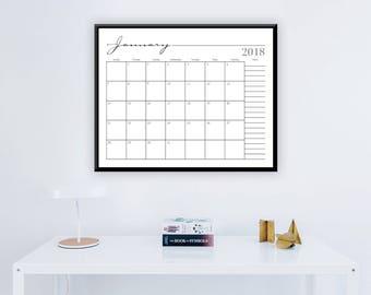 "Large 2018 Printable 12 Month Wall Calendar -  16"" x 20"" Whimsical Black & White Calendar -  Large Calendar - 2018 Instant Download Calendar"