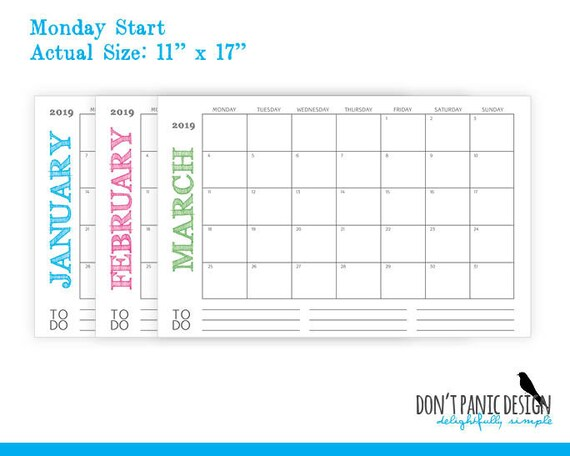 large 2019 printable monthly calendar rustic color 11 etsy