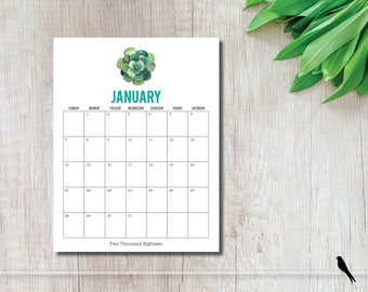 2018 Succulent Printable Wall Calendar - Succulent 12 Month Wall Calendar - Home Organizing - Instant Download