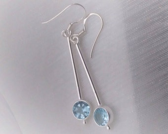 Beautifully Long Dangle & Drop, Round Blue Topaz Gemstone Earrings