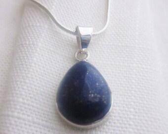 Deep Blue, Raised Lapis Lazuli Gemstone, Silver Pendant Necklace