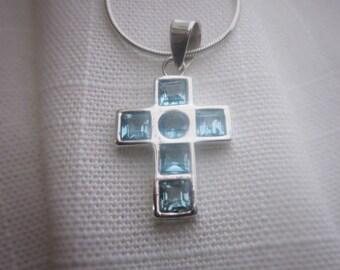 Brilliant, Blue Topaz Gemstone, Silver Pendant Necklace