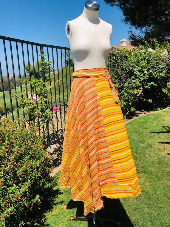 1970s Indian gauzy wrap skirt
