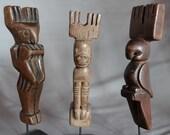 Antique Vintage Handcrafted Guatemalan Woodcarving Folk Art Primitive Slingshots set of 3
