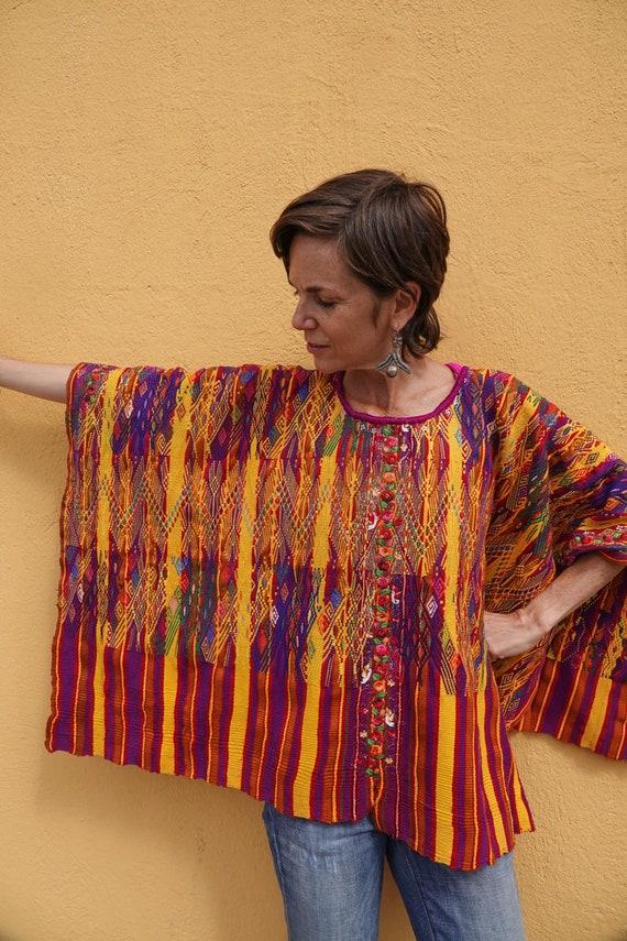 Vintage Ethnic Mayan Guatemalan Textile Huipil Poncho From San Juan Atitan