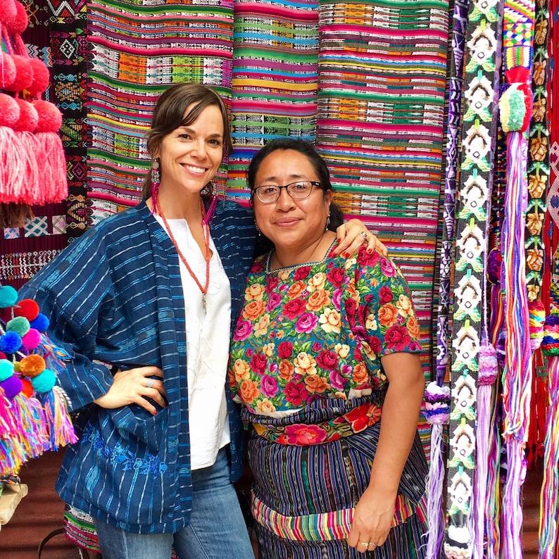Guatemalan Kimono Created from Vintage Handwoven Indigo Ikat CorteSkirt