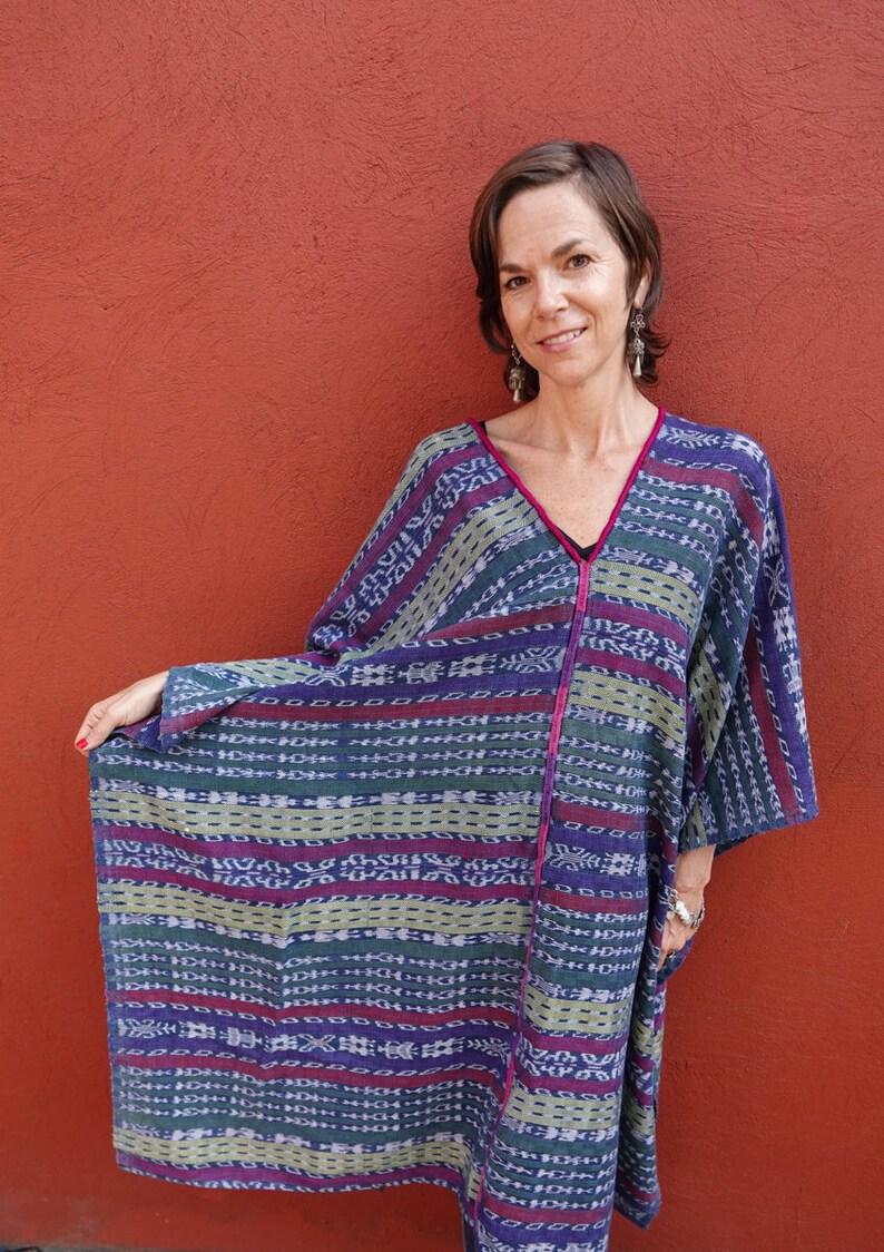 Vintage Maya Handwoven Indigo Ikat Textile CaftanKaftan Poncho from Guatemala