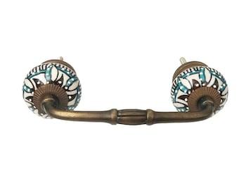 "Edelweiss Flower Ceramic Knob on a Bronze Metal Decorative Handle - 3"" OR 4"" Spread"