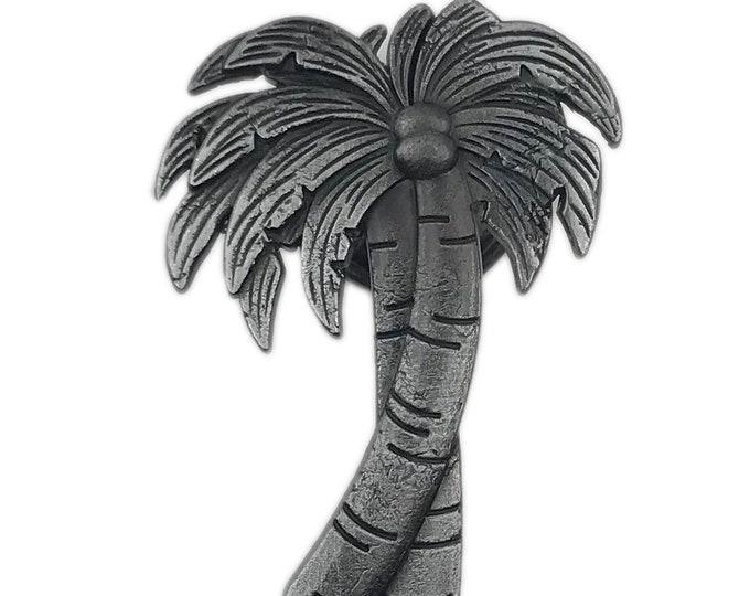 Palm Tree Gray Metal Dresser Drawer, Cabinet Drawer or Door Knob Pull