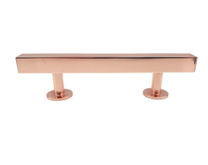 "Shiny Copper Squared 3"" Spread Drawer Handle with Round Ends, Cabinet Handle, Kitchen Drawer Pull"