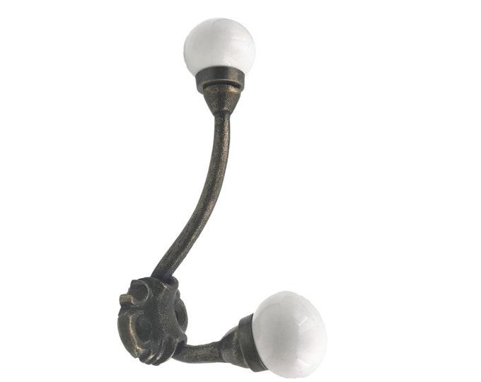 White Ceramic Knobs on Iron Wall, Coat Hook, Wall Decor, Coat Hook Rack