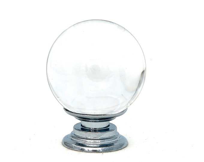 "Clear Crystal Glass 1.5"", 40mm Round Knob, Drawer Pull, Cabinet Pull, Dresser Drawer Pull - C31"