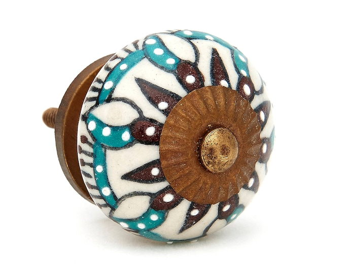 Edelweiss Flower Ceramic Knob, Drawer Pull, Door Knob, Cabinet Knob Pull
