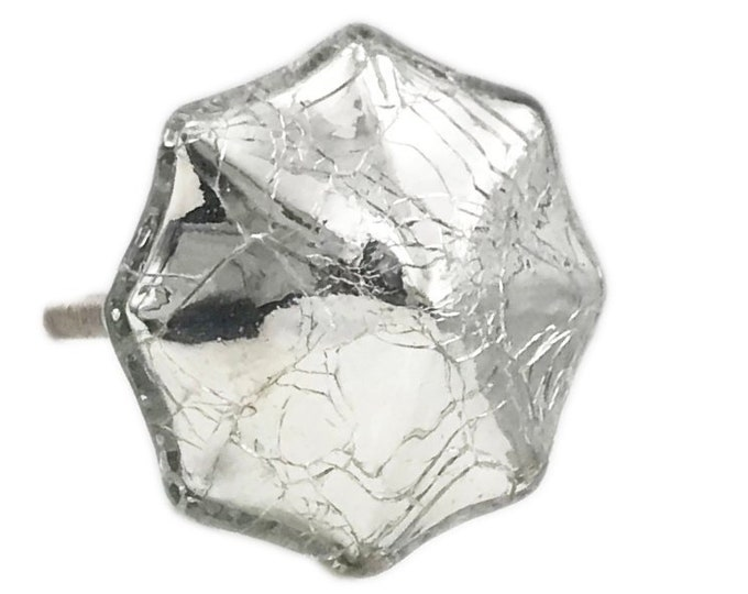 Antique Silver Mercury Glass Distressed Octagon Knob Pull for Dresser, Drawer, Cabinet, Door
