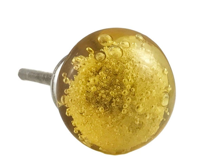 Gold Bubbles Glass Decorative Dresser Drawer, Cabinet or Door Knob Pull - Pack of 12