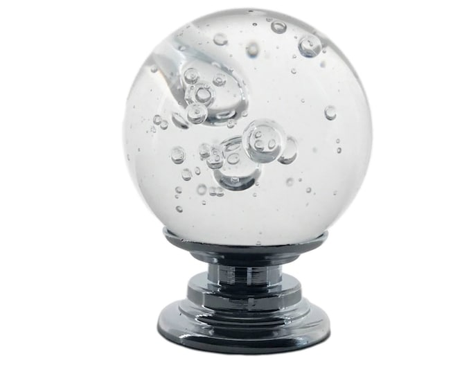 """Clear Bubble Crystal REAL Glass 1"""", 30mm Round Knob, Drawer Pull, Cabinet Pull, Dresser Drawer Pull"""