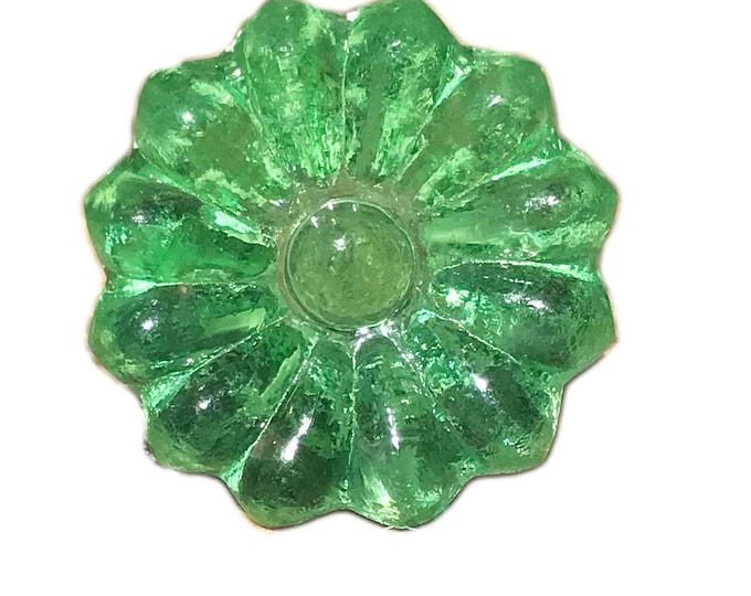 Green Sunflower Glass Knob, Drawer Pull, Furniture Knob, Cabinet Pull