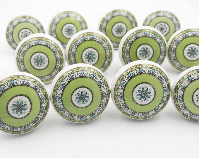 Green Pattern Round Flat Ceramic Decorative Knob Pull, Dresser Pulls, Cabinet Pulls - 12 PACK - i35Bulk