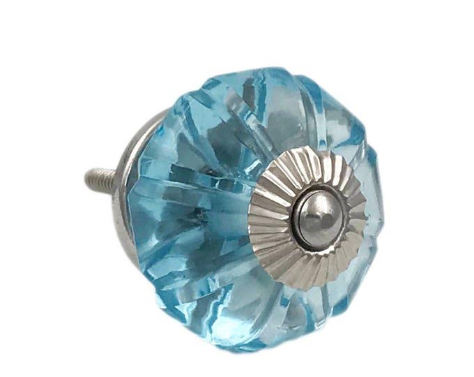 Aqua Blue Glass Round Kitchen Cabinet Pull, Door Knob, Furniture Knob with Dark Brass Hardware
