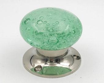 Green Bubbles Glass Mortice Interior Entry Door or Closet Knob Set