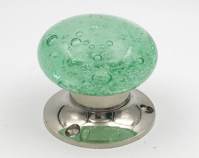 Green Bubbles Glass Mortice Interior Entry Door or Closet Knob Set