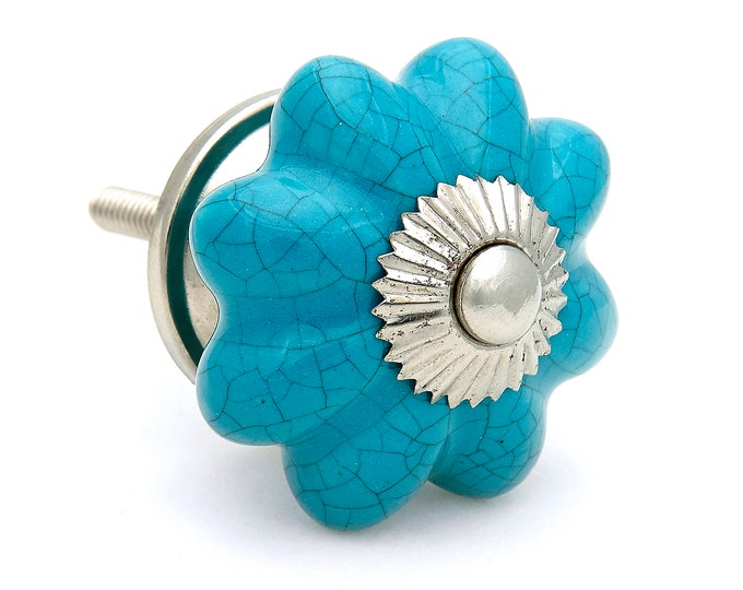 Turquoise Ceramic Octagonal Knobs Pulls, Dresser Drawer, Cabinet or Door Knob Pull - Pack of 12
