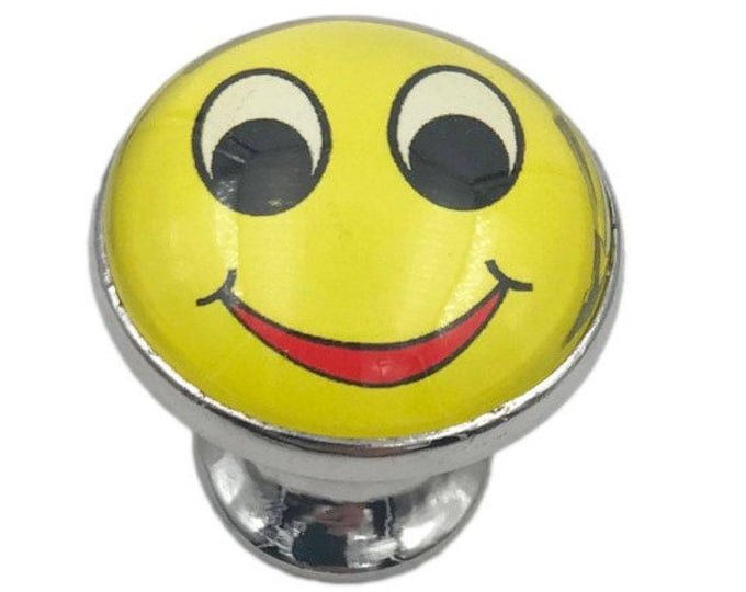 Smiley Face Glass Knob with Metal Base for Dresser Drawers, Cabinet Drawers, Kitchen Cabinets